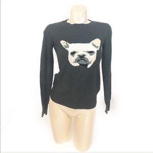 Joe fresh frenchie bulldog print grey sweater