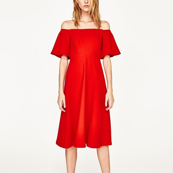 3fed7ed7eca4 Zara red off the shoulder midi dress