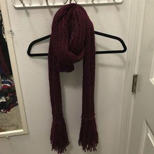 Crochet maroon scarf