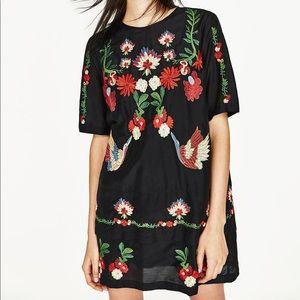 Zara embroidered short dress