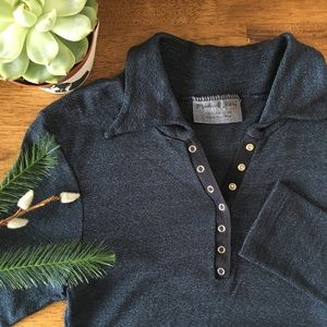 Michael Stars Shimmer Collar Button Shirt