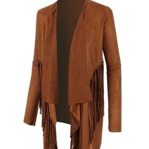 Faux brown suede jacket