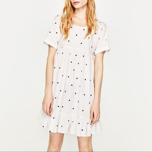 d333af56e0954 Zara polka dot embroidered dress