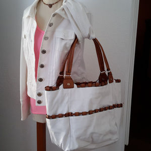 Huge White Tote fits Laptop and more!