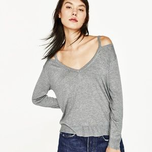 Zara cut out v-neck knit sweater collection