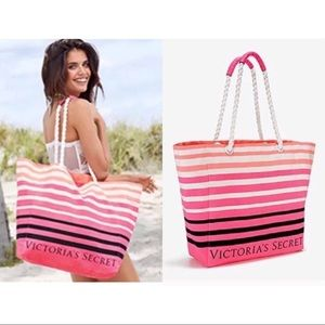 BNWT VICTORIA'S SECRET STRIPED ROPE BEACH TOTE