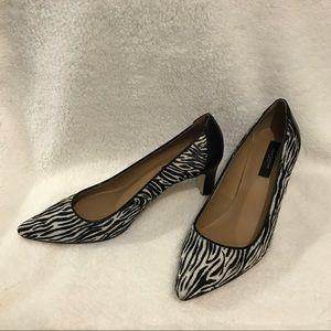 Ann Taylor Mila haircalf Zebra print pumps EUC