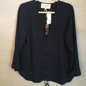 Rory Beca Hiroko Lace Up Blouse - NWT