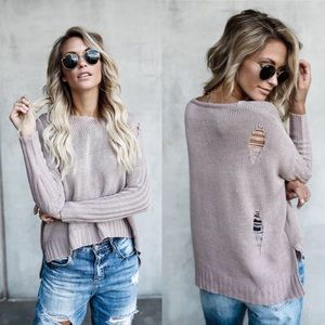 Mauve Loose Distressed Sweater