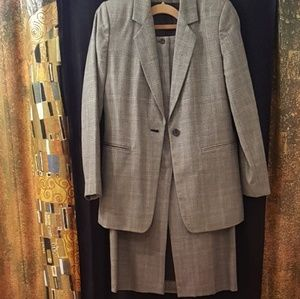 HARVE BENARD Skirt Suit Set, Gray, Plaid, Wool, 4