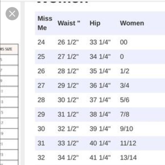 Miss Me Jeans Size Chart Poshmark