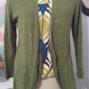 Eileen Fisher Open Cardigan In Moss Green