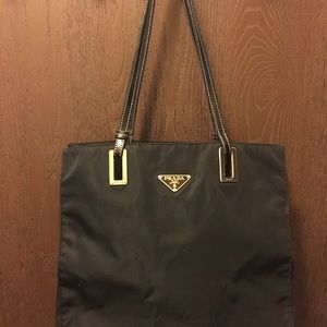 Really nice Prada Tote black nylon gold tone