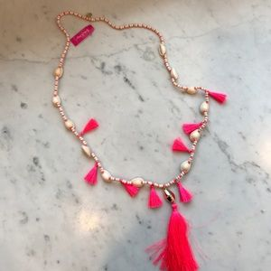 Lilly Pulitzer shell necklace with tassels! Pink!
