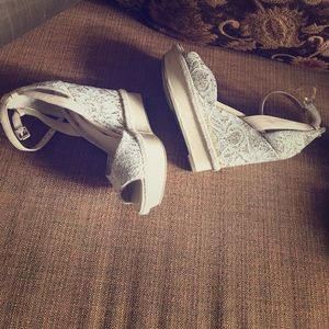Guess lace wedge sandals
