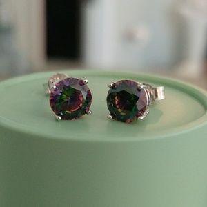 Jewelry - NWOT Sterling Silver & 6mm Mystic Topaz Earrings