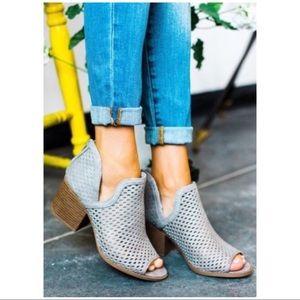 Shoes - LAST PAIR! Grey Peep Toe Ankle Bootie