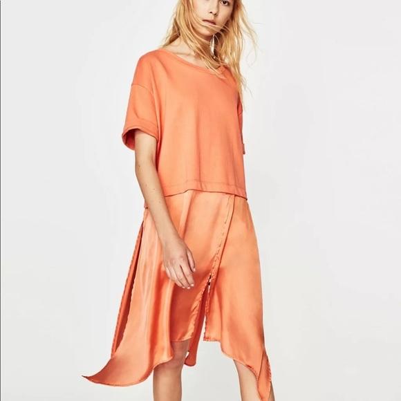 c8a0c7345b NWT Zara Coral contrast T shirt Dress M