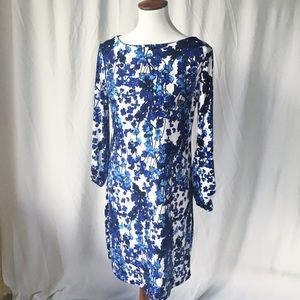 Nicole Miller Blue Floral Sheath Dress Medium