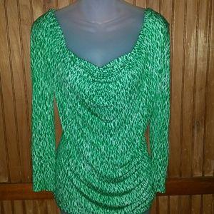 Vibrant Green Draped Blouse from MK