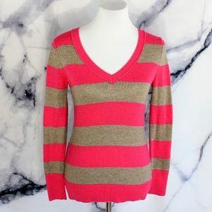 Gap V Neck Bold Striped Sweater Pink Tan XS