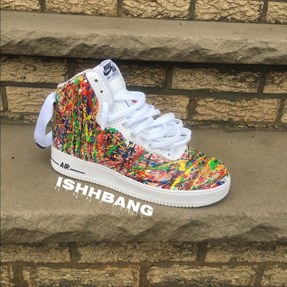 Nike Shoes Custom White Air Force 1 High Splatter Poshmark