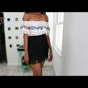 Quatre Layered Fringe Mini Skirt