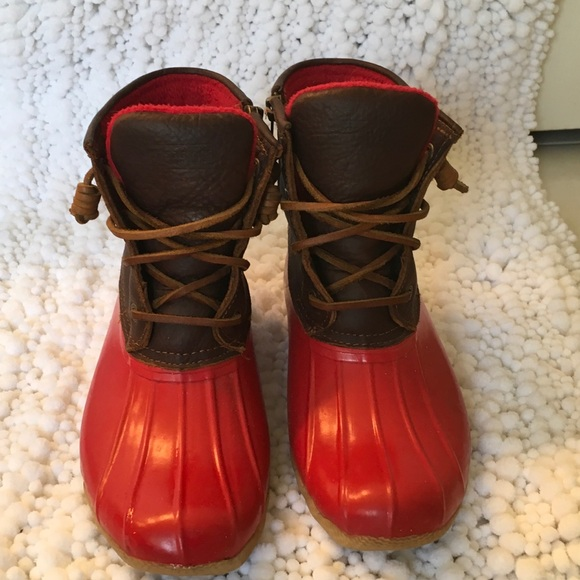 Sherry Saltwater Red Rubber Duck Boots