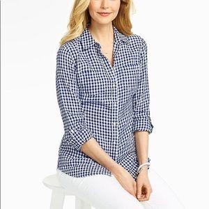Talbots 100% Linen Blue Gingham Button Up Shirt
