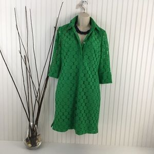 ADRIANNA PAPELL Kelly Green Circle lace dress