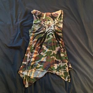 Vintage M fitted camo, high-low tank with bling
