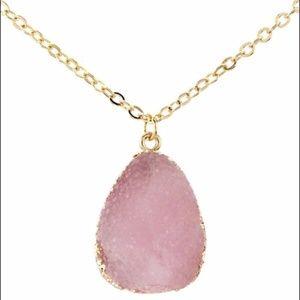 Pink Raw Druze Necklace