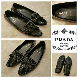 $585 PRADA Patent Tassle Driving Loafers Shoes