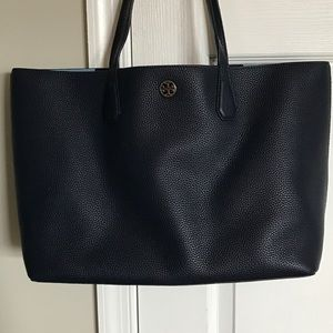 Tory burch navy leather tote