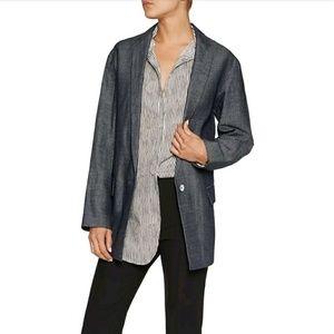Women/'s NWT $595 MILLY Dark Gray Genuine Fox Fur Trim Jacket Size M