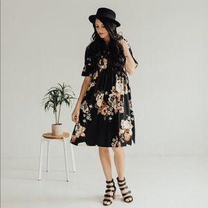 SALE Babydoll midi dress - Black Floral