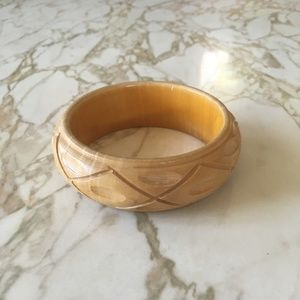 Anthropologie Carved Wooden Bracelet