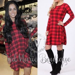 Gorgeous Red Tartan Plaid Swing Dress