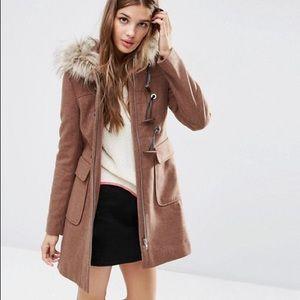 ASOS wool blend faux fur duffle coat