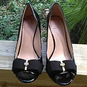 Tory Burch peep toe patent leather wedges