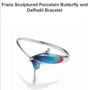 Franz  porcelain butterfly and Daffidil bracelet