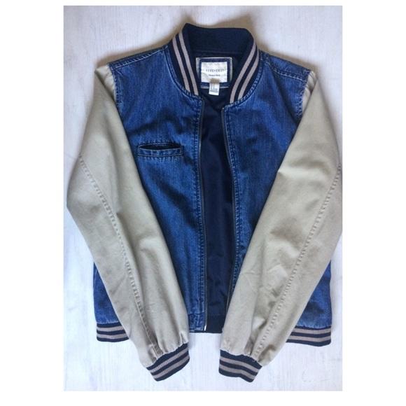 Forever 21 Jackets Coats Denimkhaki Vintage Varsity Jacket
