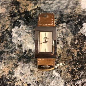 Lacoste watch leather camel color