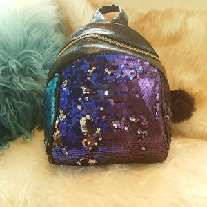 Handbags - Purple Blue Silver Black Sequin Mini Backpack