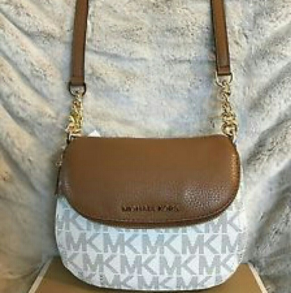 1e757faa620d real michael kors bedford signature tassel shoulder bag medium acorn 05822  ad4cb; spain michael kors mk signature bedford flap 2ffbc d4a58
