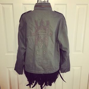 Military Jacket Outerwear feathered ends
