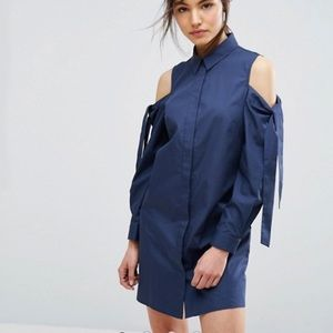 Shirt Dress with Cold Shoulder and Tie Detail