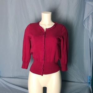 The Limited Raspberry Colored Cropped Cardigan