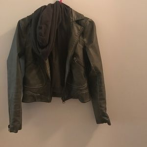 Green bomber leather jacket from silence + noise