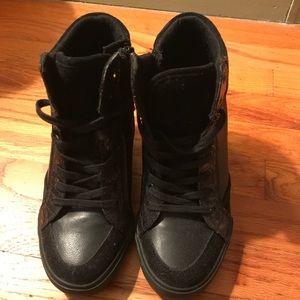 Aldo black wedge sneakers